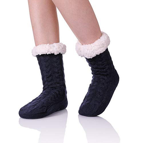 ZaYang Womens Super Soft Cable Knit Fuzzy Cozy Fleece lined Warm Non-Skid Winter Slipper Socks (Dark Blue) (Size Plus Lined Stockings)