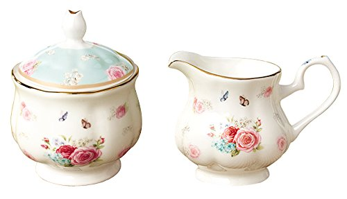 Jusalpha Elegant Floral Fine Bone China Sugar and Creamer Set (Sugar and Creamer Set 01) ()
