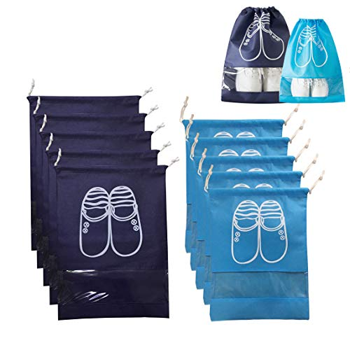 (YAMAMA Portable Travel Shoe Bags ,Dust-proof Waterproof Storage Bags, Non-Woven Drawstring Shoes Storage Bags with Transparent for Men and Women  (5XL+5L(Navy Blue+ Blue)))