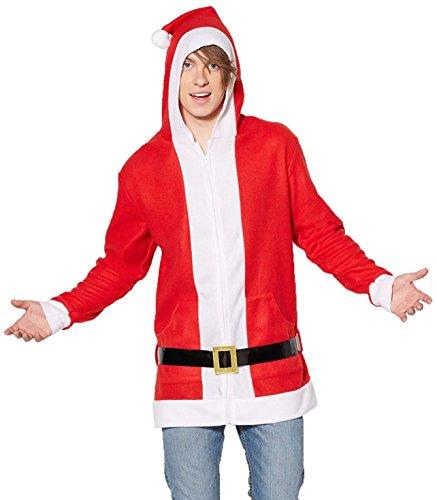 Forum Men's Simply Santa Hoodie with Belt, Red/White, Medium (Santa Hoodie)