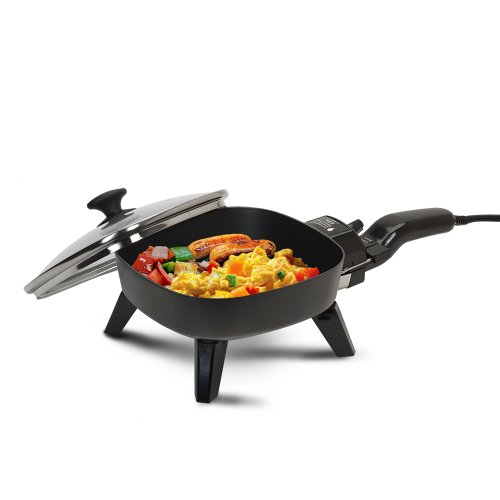 Home Camping Griddle - Elite Cuisine EFS-400 Maxi-Matic 7-Inch Non-Stick Electric Skillet with Glass Lid, Black