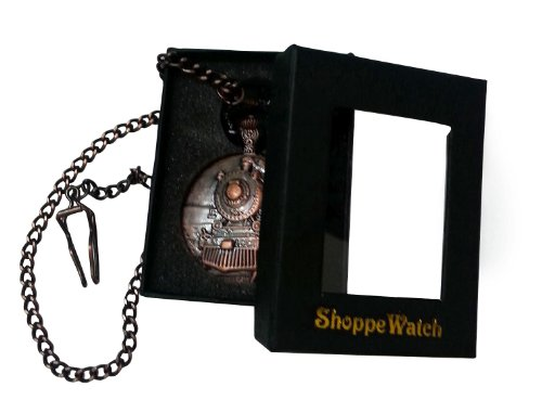 ShoppeWatch Pocket Watch with Chain Railroad Train Full Hunter Locomotive Steampunk Design PW-31 by ShoppeWatch (Image #4)