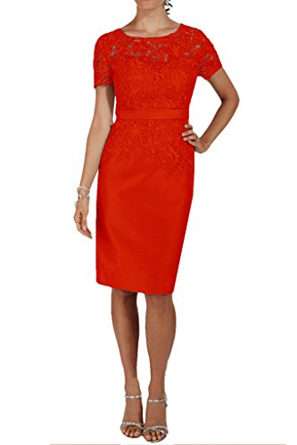 Missdressy vestido de noche para Mujer, largo por la rodilla, mangas de Charmeuse Rojo