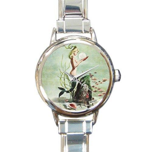 Special Design Beautiful Merimaid under the Sea Round Italian Charm Watch ()