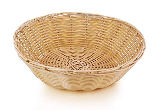 Wicker Bread Baskets - New Star Foodservice 47006940 Food Serving Baskets 9 x 2.75 inch Round, Hand Woven, Polypropylene, Set of 12, Natural