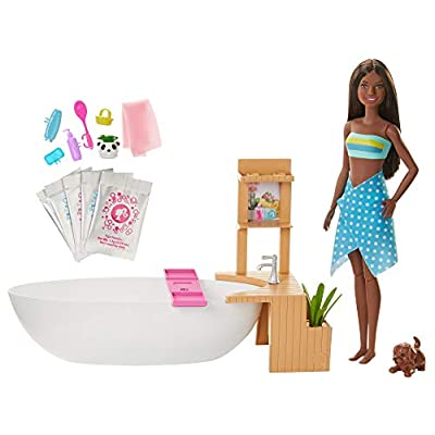Barbie Fizzy Bath Doll and Playset, Brunette, with Tub, Fizzy Powder, Puppy and More, Gift for Kids 3 to 7 Years Old: Toys & Games