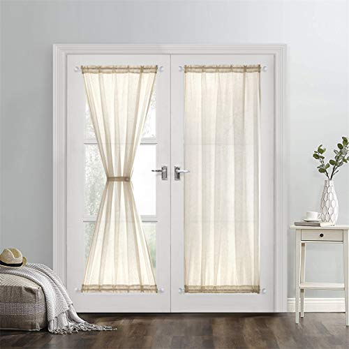Dreaming Casa Sheer French Door Curtains Linen Textured Two Panels Rod Pocket 72 inches Long Curtains,2 Panels, Natural,52''W X ()