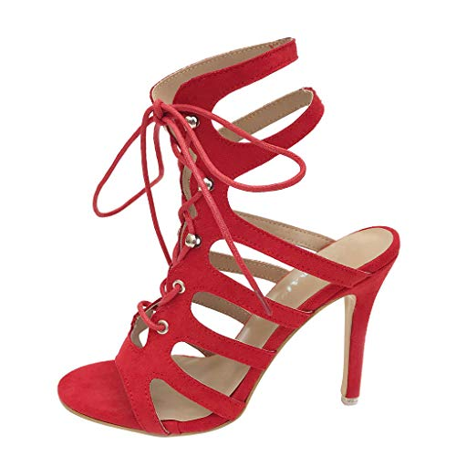 Kauneus Strappy Lace Up Open Toe High Heel Gladiator Ankle Strap Buckle Sandals for Women Red