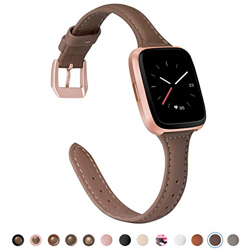 TOYOUTHS Compatible Fitbit Versa Leather Bands, Slim Genuine Leather Versa Special Edition Watch Band Classic Strap with Quick Release Pins Replacement Wristband Accessories for Women Men ()