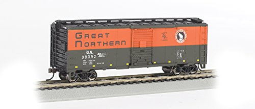 Bachmann 40' Box Car-Great Northern #39392 (Green & Orange) -HO Scale Hobby Train Freight, Prototypical Green and (Bachmann Ho 40' Boxcar)