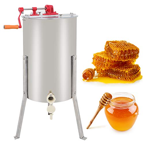 ZENY Pro 2 Frame Stainless Steel Manual Crank Bee Honey Extractor Honeycomb Spinner Drum, Heavy Duty Beekeeping Equipment Commercial