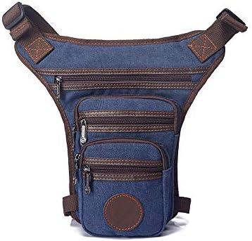 Hombre Bolsa Pierna, Lienzo Bolsa de Pierna Impermeable con Bolsillos Bolso para Motocicleta y Senderismo Negro (Azul oscuro)