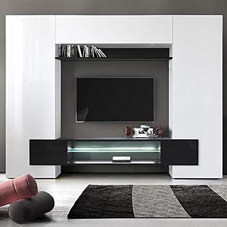 Kasalinea Eros 3 - Mueble para televisor de Pared (Lacado), Color Blanco y Negro: Amazon.es: Hogar
