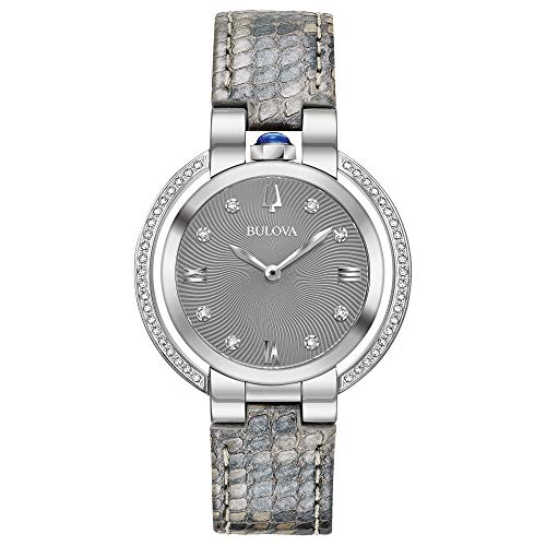 Ladies' Bulova Rubaiyat Diamond Grey Python Leather Strap Watch 96R218