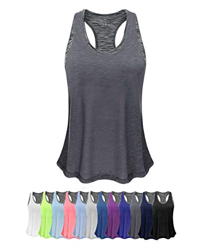 Women Tank Top with Built in Bra, Lightweight Yoga Camisole for Workout Gym Fitness(Dark Gray&Gray Bra, XL)