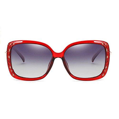 Color ice blue Gafas Genuine frame al Eye sol red Black de femeninas UV WLHW Frame Polarizadas aire Juego frame Gafas de Wine sol UV Models Retro Big gray Lens Explosion calientes libre XxpqF8ngwn