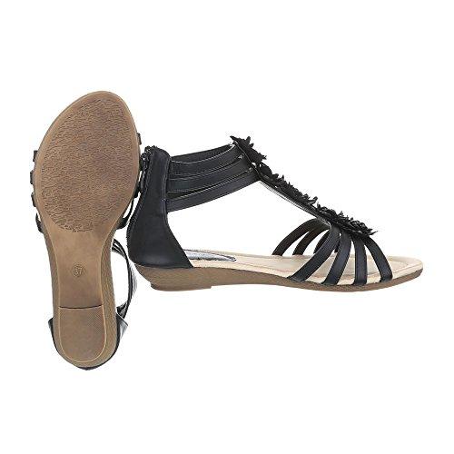 Ital-Design Zapatos Para Mujer Sandalias de Vestir Plataforma Sandalias de Cuña Negro BL98703X-SP
