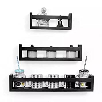 Onlineshoppee Cocina Set of 3 Floating Wall Shelves (Black)