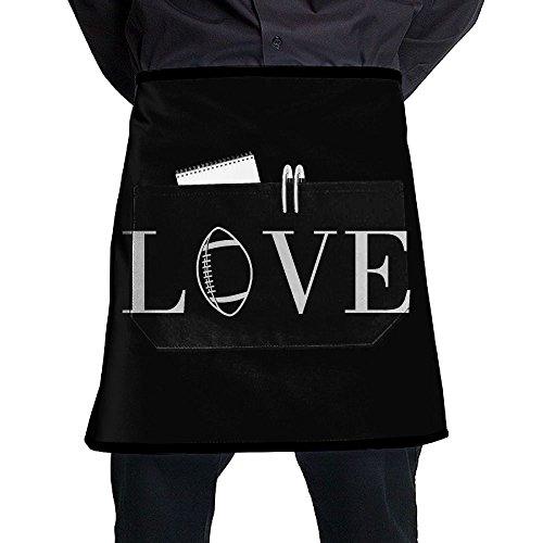 fan products of Love Rugby Half Waist Apron Men's Restaurant Aprons Unisex Bartender Apron,Money Apron,Check Holder Adjustable Bib With A Pocket