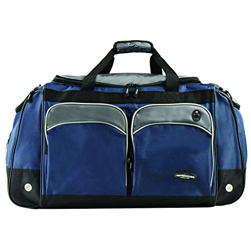 """Travelers Club 28"""" ADVENTURE Multi-Pocket Sport Duffe, Navy with Gray Color Option"""