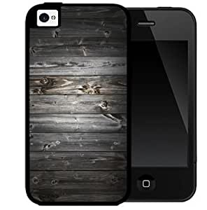 Dark Gray Wood Boards of Wood Pattern 2-Piece Dual Layer High Impact Black Silicone Cell Phone Case Cover iPhone 4 4s