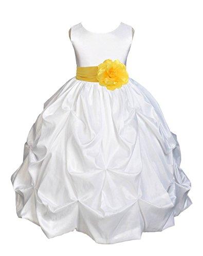 ekidsbridal Taffeta Pick-up Bubble White Flower Girl Dress Ball Gown Communion Dress 301S (Pickup Ball Gown)