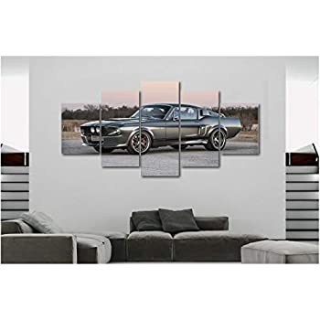5 Piece Luxury Canvas Posters of Sports Cars Supercar Exotic Luxury Modern Wall Art Decor (5 Piece Medium, 67 Shelby Mustang)