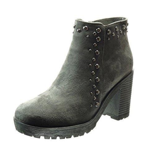 Angkorly - Zapatillas de Moda Botines zapatillas de plataforma mujer perla metálico Talón Tacón ancho alto 9 CM - Gris