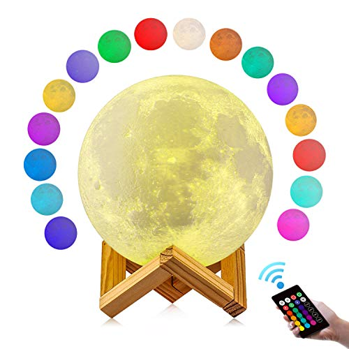 Moon Lamp, GDPETS 3D Printing Moon Night Light with Stand, Touch& Remote Control 3D Moon Lamp 16 Color Decorative Moon Light for Baby Kids Friend Birthday Party Christmas Gifts (4.8 inch)