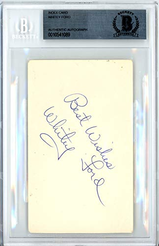 Whitey Ford Signed Auto 3x5 Index Card New York Yankees Best Wishes Vintage - Beckett Certified ()