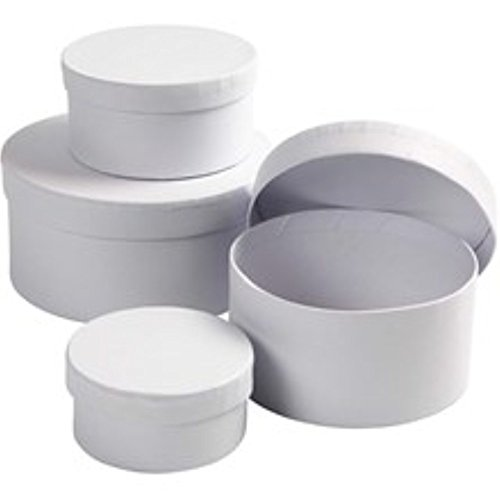 White Paper Mache - 4 White Paper Mache Round Boxes to Decorate Largest 14x7cm | Papier Mache Boxes