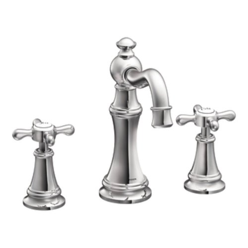 Moen TS42114 Weymouth Two-Handle High-Arc Widespread Bathroom Faucet without Valve, Chrome