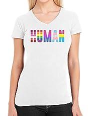 LGBTQ Human Pride T-shirt voor dames, met V-hals