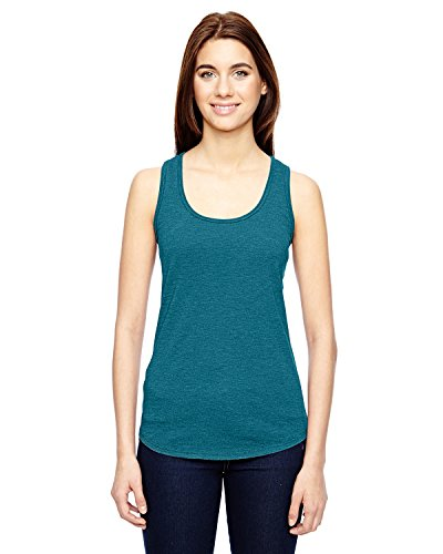 (Anvil Ladies Triblend Racerback Tank Top. 6751L Heather Galapagos Blue L )