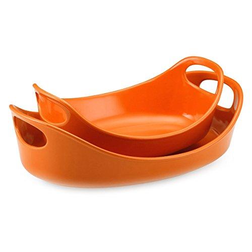 Rachael Ray Stoneware Bubble Brown Orange Baker Set of 2