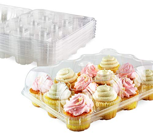 Chefible Premium 12 Plastic Disposable Cupcake Carrier Container Box High Dome, Extra Sturdy For Easy Transport! 12 pack ()