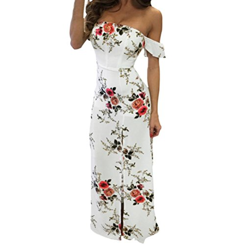 GBSELL Women's Boho Off Shoulder Strapless Summer Beach Floral Slit Maxi Dress (XL, White)