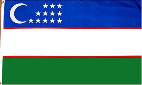 Uzbekistan National Country Flag - 3 foot by 5 foot Polyester (New)
