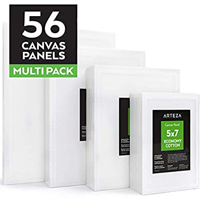 "ARTEZA Painting Canvas Panels Multi Pack, 5x7"", 8x10"", 9x12"", 11x14"", Set of 56, Primed White, 100% Cotton with Recycled Board Core, for Acrylic, Oil, Other Wet or Dry Art Media, for Artists"