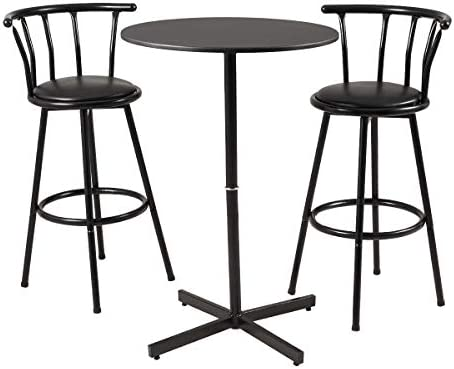 Bar Table Set 3 Piece with 2 Bar Stools Bistro Pub Circular Table and Chairs Set, Dining Kitchen Furniture Black