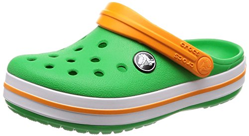 Crocs - Kids' Crocband K Clog, Size: 2 M US Little Kid, Color: Grass Green/White/Blazing - Blazing Cherry