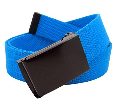 Mens Black Flip Top Military Belt Buckle with Canvas Web Belt