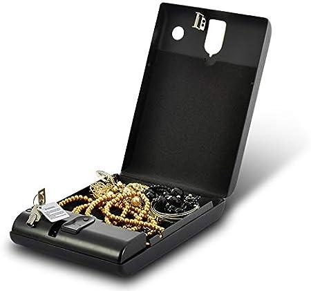 Delipop Caja fuerte con llaves de huellas dactilares Smart eléctrico y portátil para dinero alta valioso negro: Amazon.es: Hogar