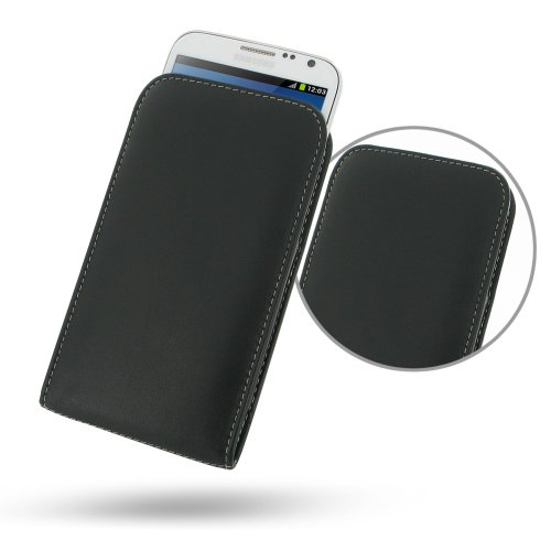 Pdair Black Leather Vertical Pouch Case Cover for Samsung Galaxy Note II GT-N7100