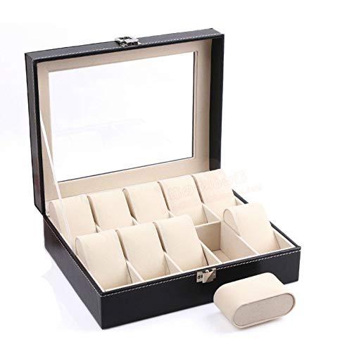 Eachbid Reloj Caja Organizador Escritorio Armario Negro Caja de Reloj de Piel PU con Terciopelo Suave Regalo para Hombre y Mujer 10 Ranuras