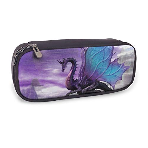Fantasy Dragon Leather Pencil Box Custom Double Zipper Pen Box Durable Office School Stationery Multipurpose Buggy Bag Makeup Pouch (Double Dragon Mobile)