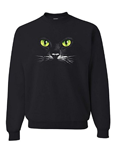 (Cat Green Eyes Sweatshirt Animal Pet Lovers Kitten Huge Cat Face Sweater Black M)