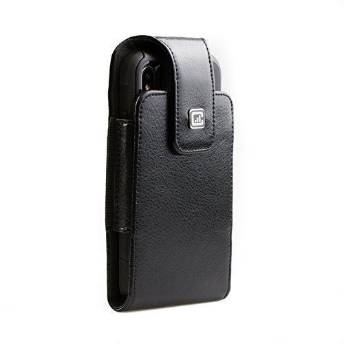 [Gorilla Clip] CASE123 MPS Classic TL Elite Genuine Leather Vertical Oversized Swivel Belt Clip Holster for Apple iPhone X for use Otterbox Commuter, Symmetry, and Other Rugged Cases - Black Cowhide