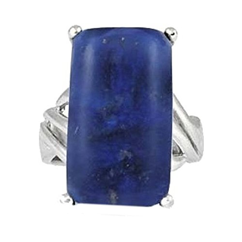 BillyTheTree Gemstone Jewelry Sterling Silver Ring with Baguette Lapis Lazuli Stone BTS-NRB6648 LP R