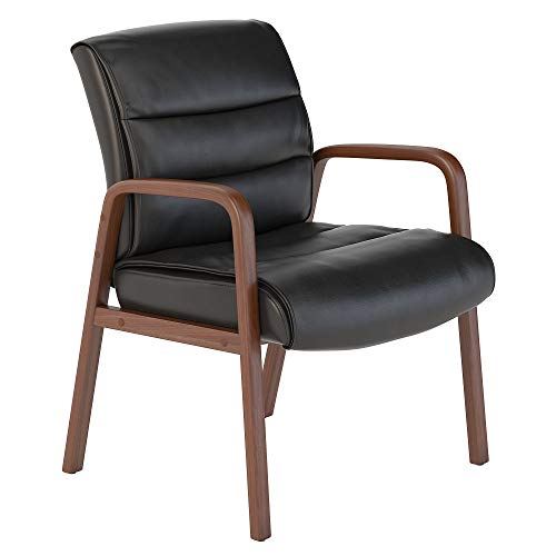 Bush Business Furniture Soft Sense Leather Guest Chair with Wood Arms in Black